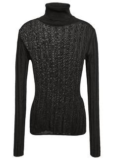 Acne Studios Woman Ribbed-knit Turtleneck Sweater Dark Brown
