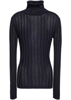 Acne Studios Woman Ribbed-knit Turtleneck Sweater Navy