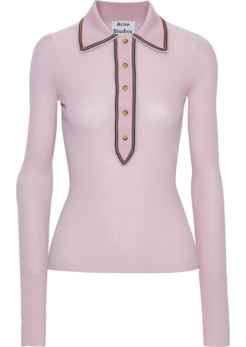 Acne Studios Woman Ribbed Merino Wool Polo Shirt Pastel Pink