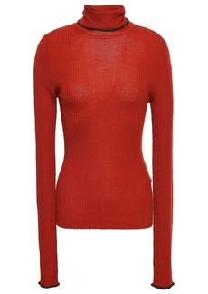Acne Studios Woman Ribbed Merino Wool Turtleneck Sweater Brick