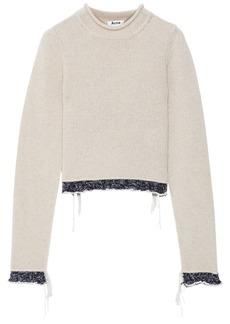 Acne Studios Woman Ruffle-trimmed Wool Sweater Beige