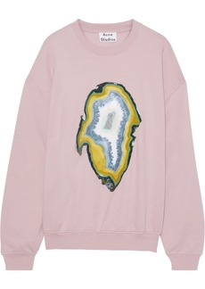 Acne Studios Woman Snappy Coated Printed Cotton-blend Fleece Sweatshirt Lilac