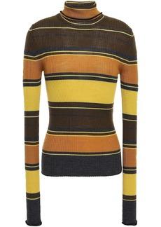 Acne Studios Woman Striped Ribbed Merino Wool Turtleneck Sweater Mustard