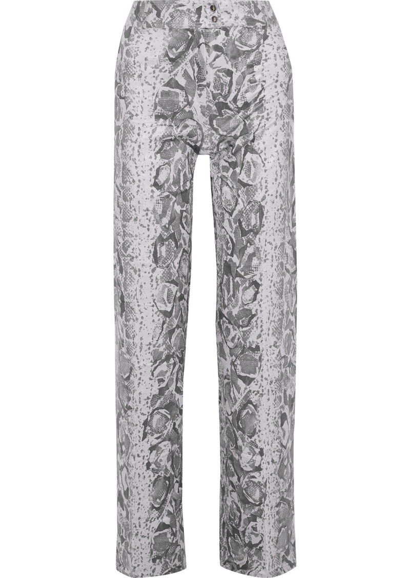 Acne Studios Woman Thes Snake-print Coated-jersey Wide-leg Pants Lilac