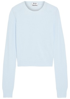 Acne Studios Woman Towel Cropped Stretch-knit Sweater Sky Blue