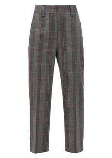 Acne Studios Wool-blend houndstooth cropped trousers
