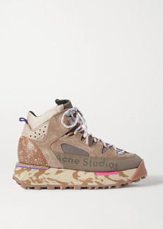 Acne Studios Logo-print Suede And Mesh High-top Sneakers