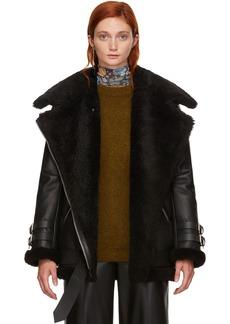 Acne Studios Black Leather & Shearling Vélocité Jacket