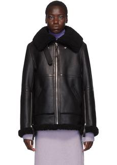 Acne Studios Black Long Raf Shearling Jacket