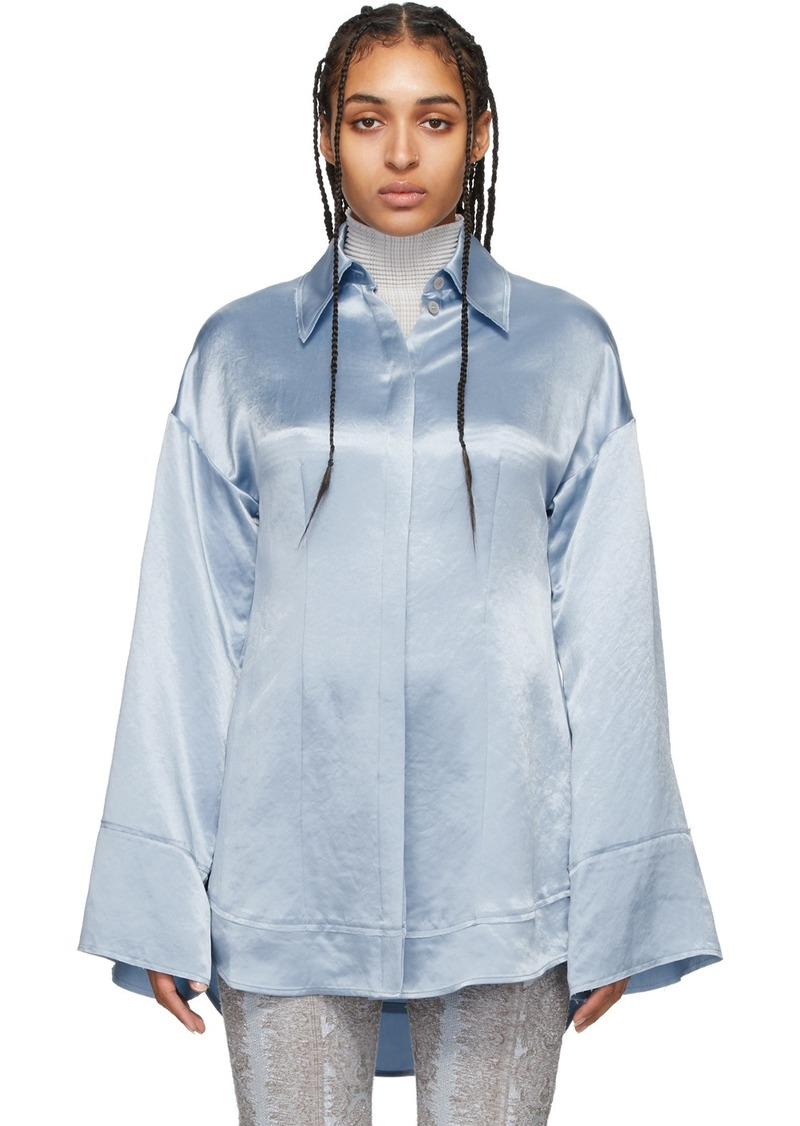 Acne Studios Blue Satin Suzette Fluid Shirt