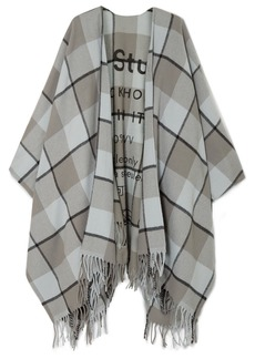 Acne Studios Cassier Fringed Printed Checked Wool Wrap