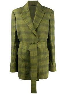 Acne Studios checkered belted waist blazer