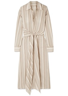 Acne Studios Daniela Tie-embellished Striped Cotton-voile Midi Dress