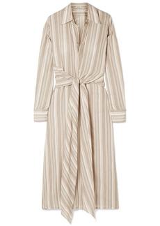 Acne Studios Daniela Tie-embellished Striped Cotton-voile Midi Dress