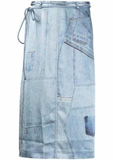 Acne Studios denim-print mid-length skirt