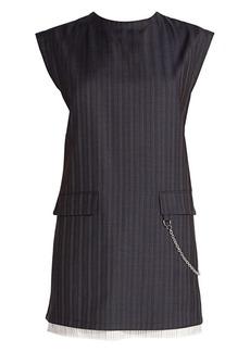 Acne Studios Doniella Pinstripe Wool Chain Mini Dress