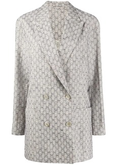 Acne Studios floral-jacquard double-breasted blazer