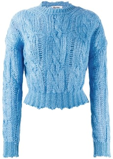 Acne Studios frayed cable knit jumper
