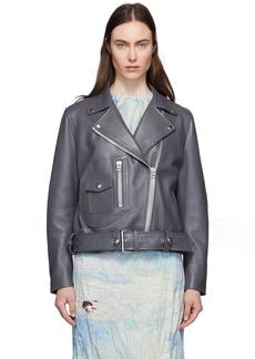Acne Studios Grey Leather New Merlyn Jacket
