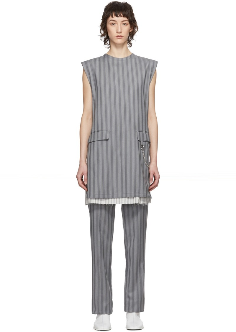 Acne Studios Grey Wool Pinstripe Donielle Dress