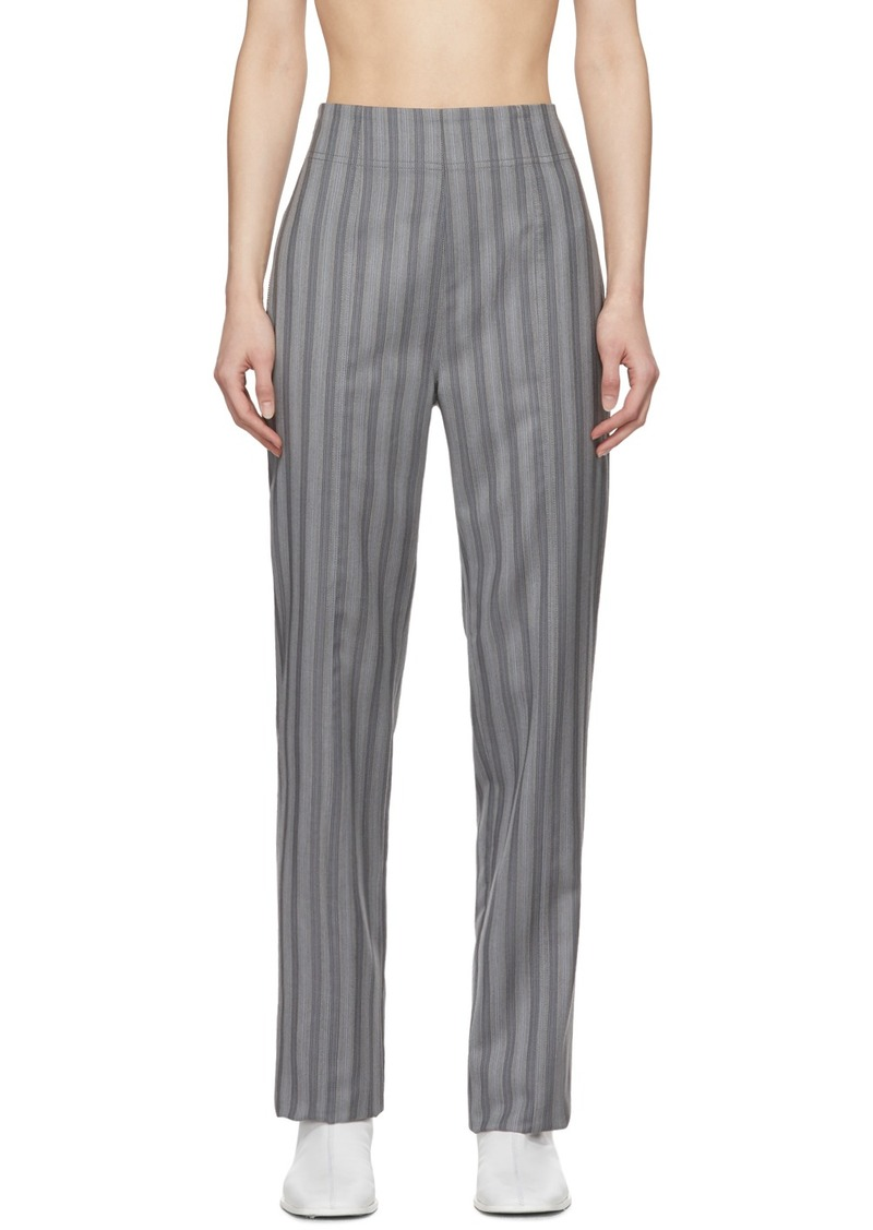 Acne Studios Grey Wool Pinstripe Pattie Trousers