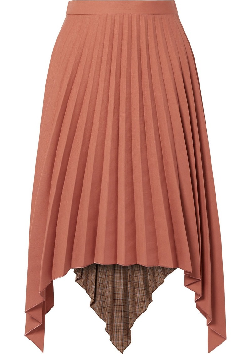 Acne Studios Islie Asymmetric Pleated Woven Midi Skirt