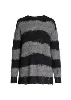 Acne Studios Kalia Block Stripe Distressed Sweater