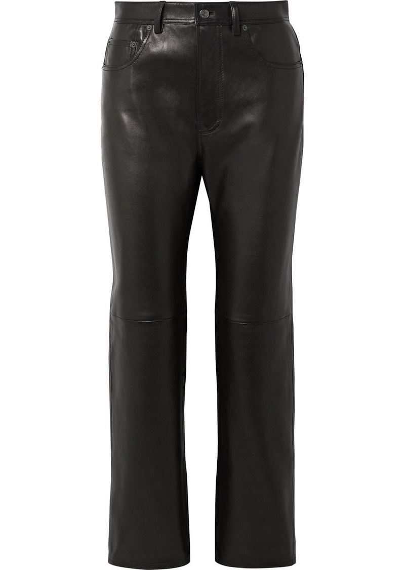 Acne Studios Lacy Cropped Leather Straight-leg Pants