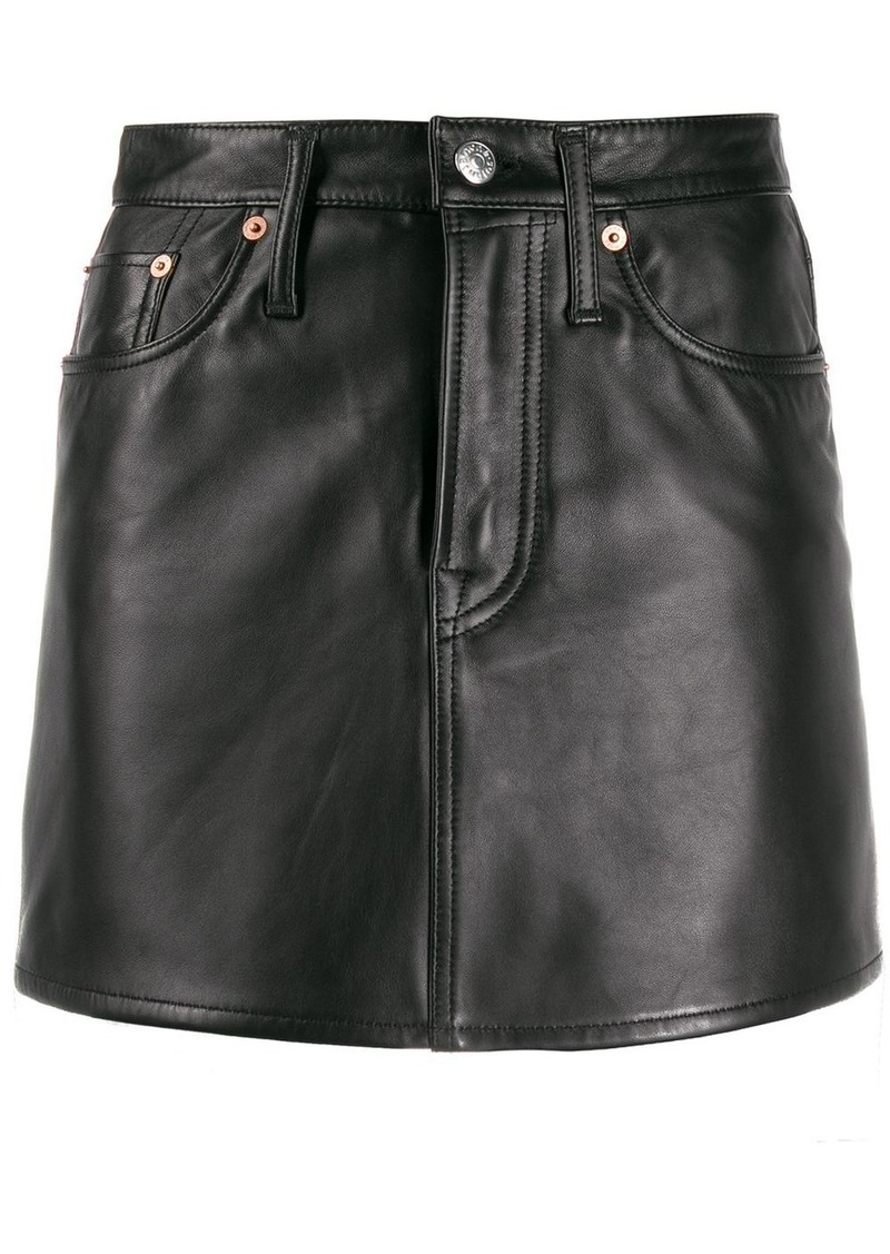 Acne Studios leather A-line mini skirt