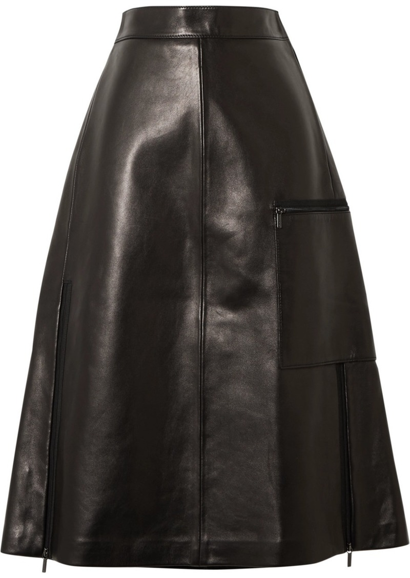 Acne Studios Ligrid Paneled Leather Skirt