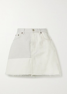 Acne Studios Net Sustain Frayed Patchwork Organic Denim Mini Skirt