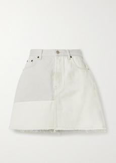 Acne Studios Net Sustain Frayed Patchwork Organic Denim Mini Skirt