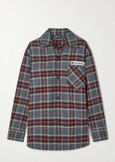Acne Studios Oversized Appliquéd Checked Cotton-flannel Shirt