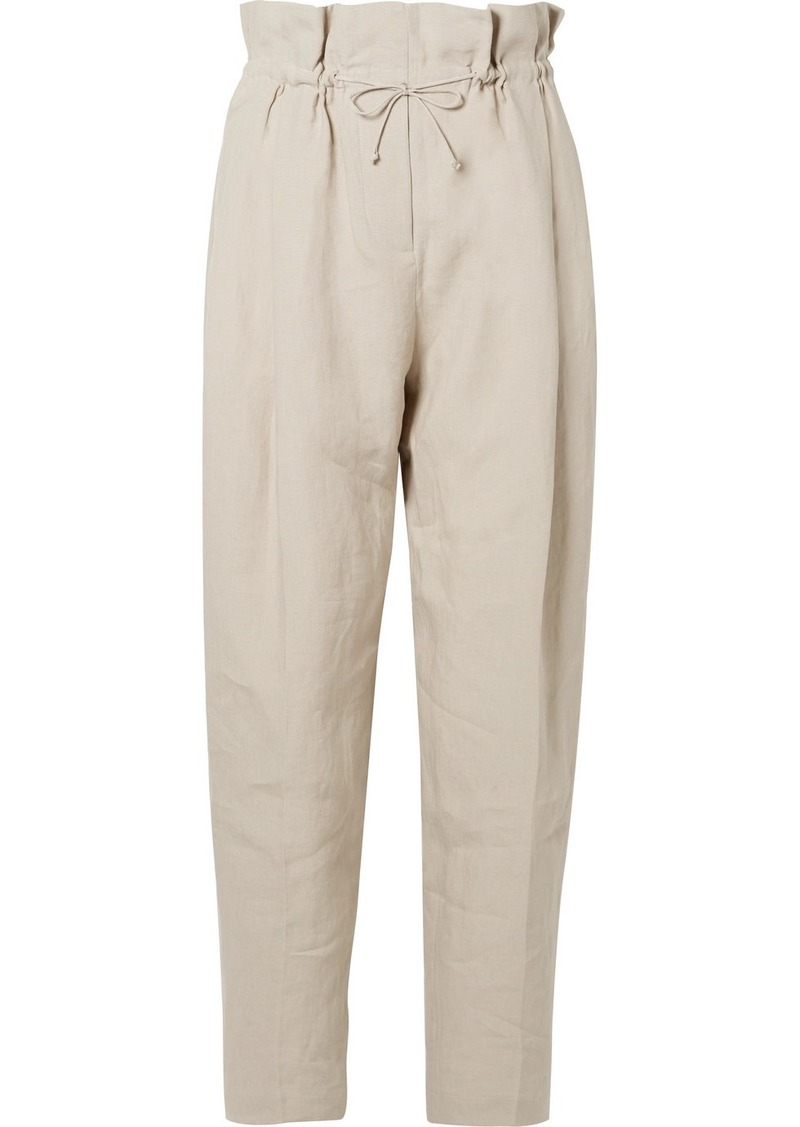 Acne Studios Paoli Pleated Linen Tapered Pants