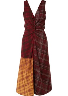 Acne Studios Patchwork Checked Wool-tweed And Crepe Dress