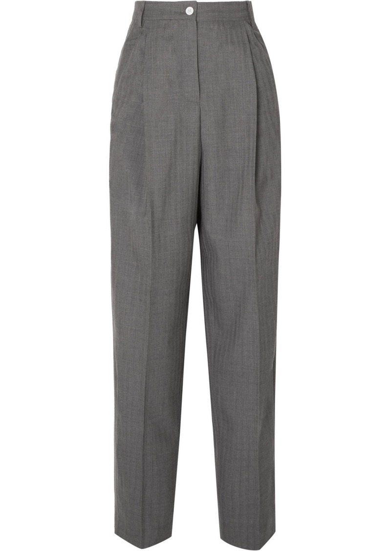 Acne Studios Peggerine Pleated Herringbone Wool Tapered Pants