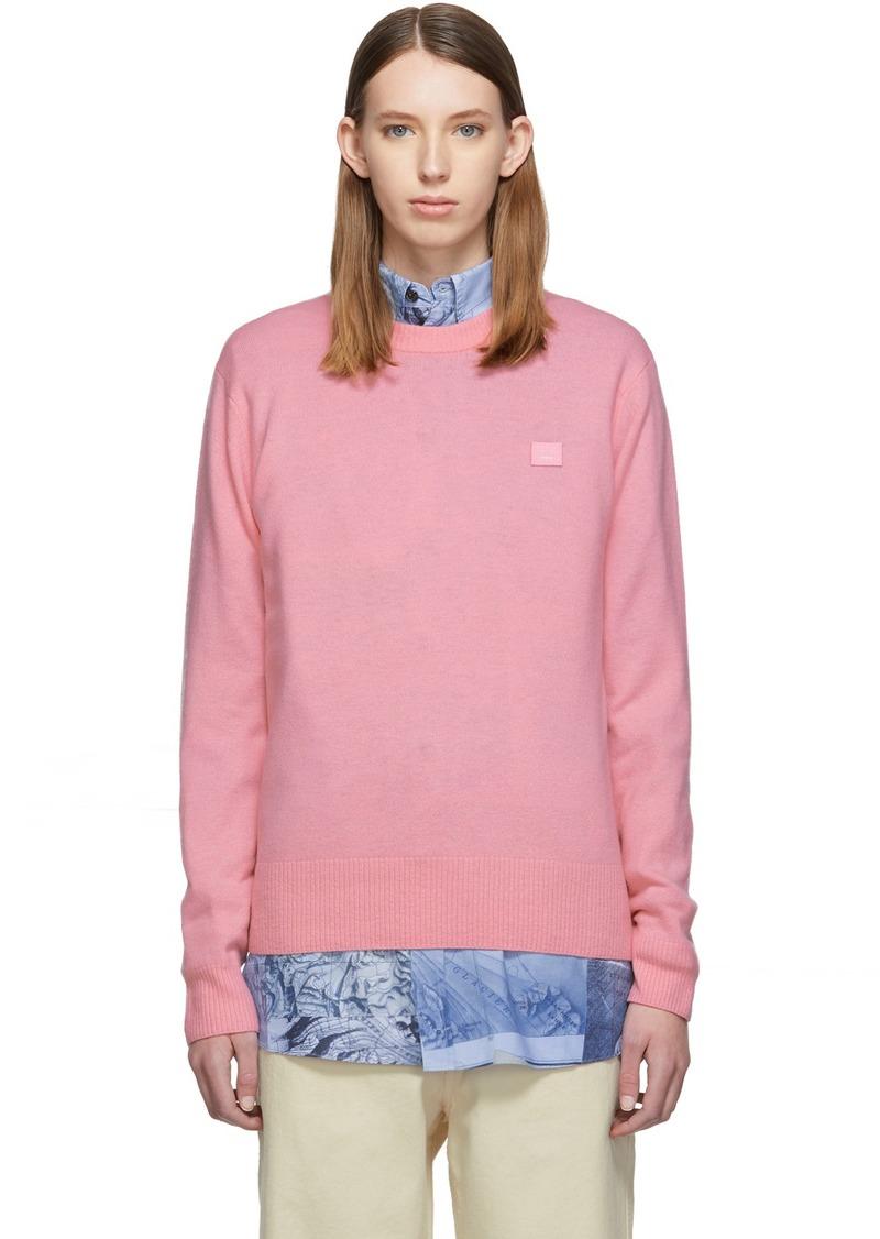 Acne Studios Pink Nalon Face Crewneck Sweater