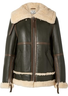 Acne Studios Raf Long Leather-trimmed Shearling Jacket