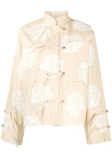 Acne Studios rose-print monk-collar jacket