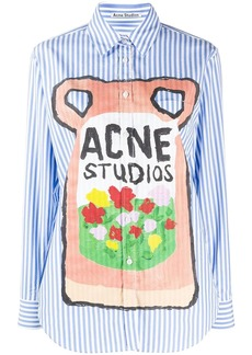 Acne Studios striped logo print shirt