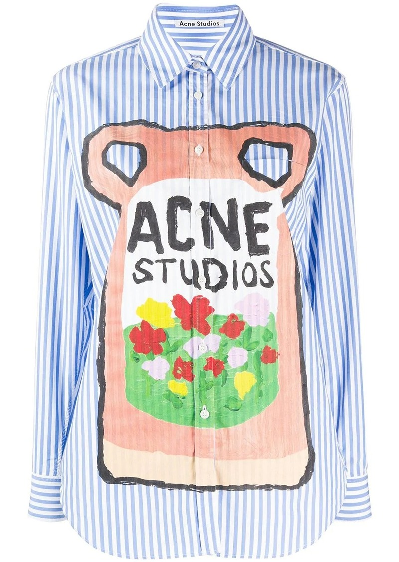 Acne Studios striped logo print shirt