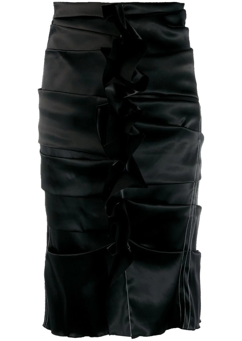 Acne Studios uneven horizontal side pleats skirt