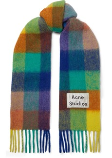 Acne Studios Checked Fringed Knitted Scarf