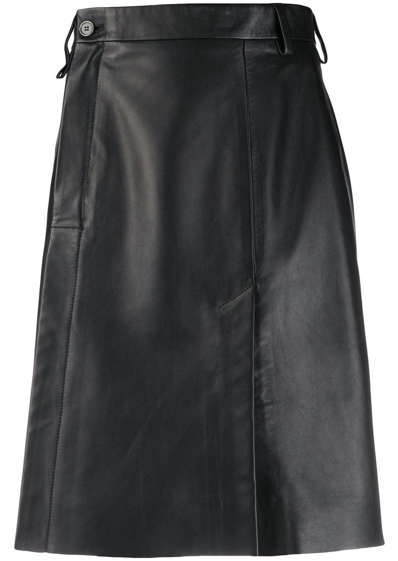 Acne Studios wrap front leather skirt