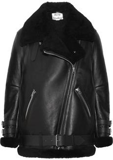 Acne Studios Velocite Shearling-trimmed Leather Biker Jacket