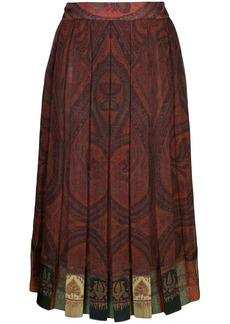 Adam Lippes pleated paisley print skirt