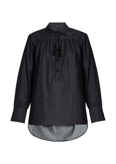 Adam Lippes Blouson-sleeved denim blouse