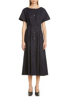 Adam Lippes Button Front Twill Midi Dress