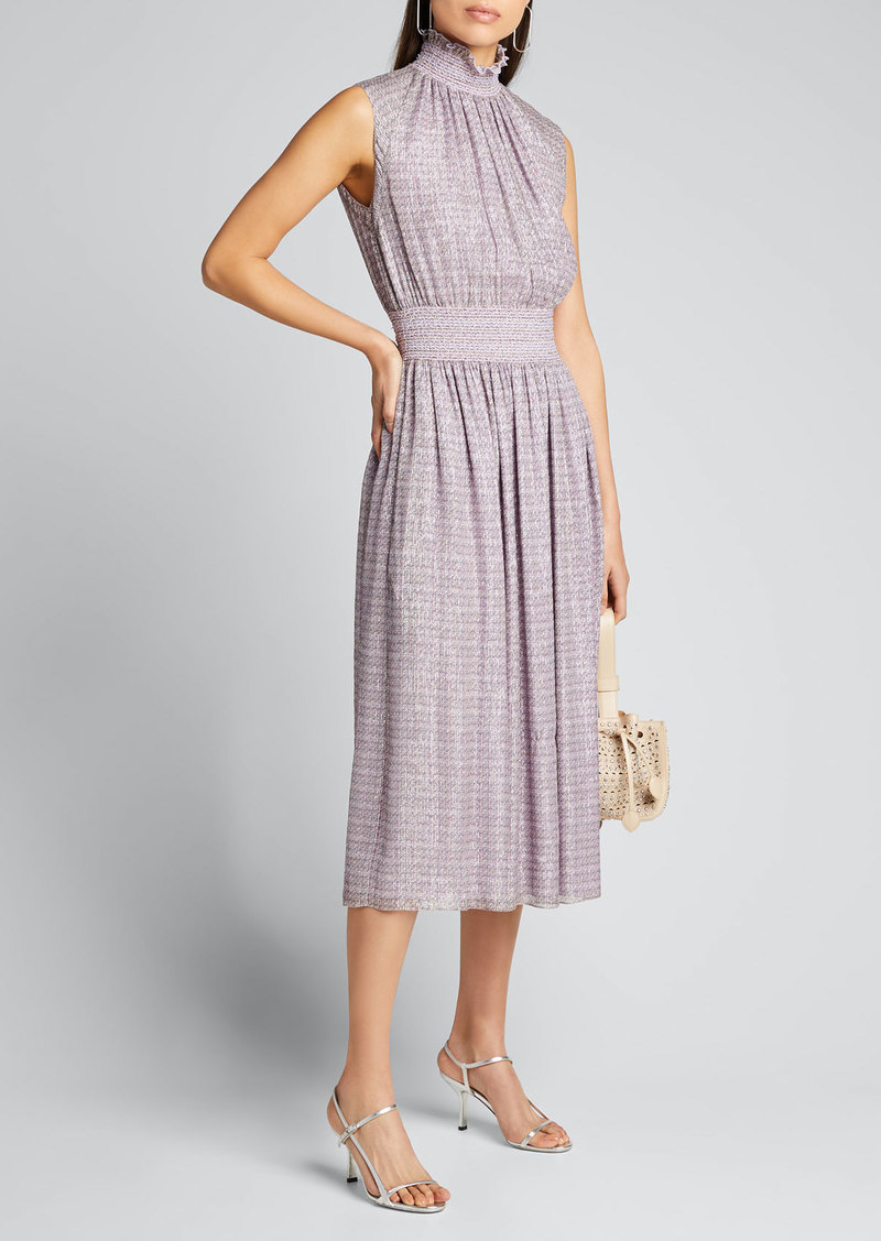 Adam Lippes Chiffon Sleeveless Smocked-Waist Dress