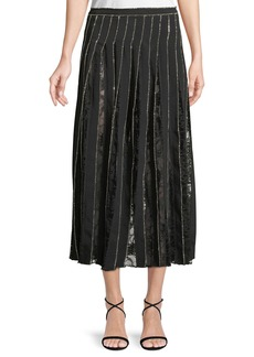 Adam Lippes Crystal-Embroidered Pleated Silk Crepe A-Line Skirt w/ Lace